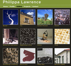Philippa Lawrence - screenshot of gallery page
