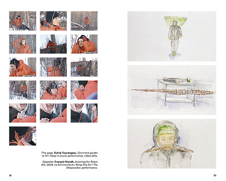 Spread showing video stills by Sylvie Tourangeau (left) and drawings by Francois Morelli (right)