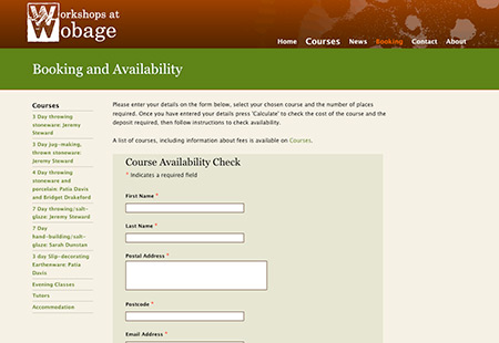 Workshops at Wobage website - screenshot of integrated booking form