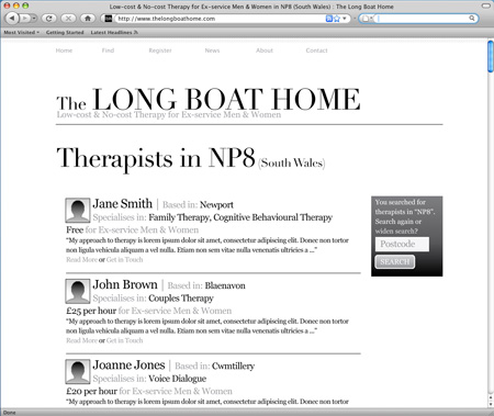 The Long Boat Home - directory of therapists
