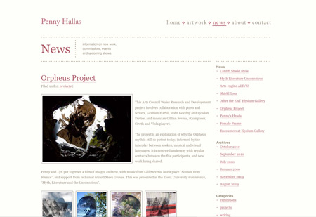 Penny Hallas' Website - news section